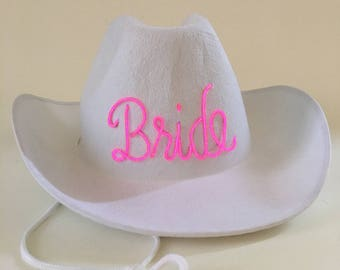 White Light Up BRIDE Cowboy Hat made with El Wire - Bachelorette or Wedding