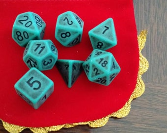 Distressed Turquoise- 7 Die Polyhedral Set with Pouch