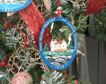 Bass Harbor Lighthouse Ornament - Metal -Handpainted -Folkart- Ready to go gift
