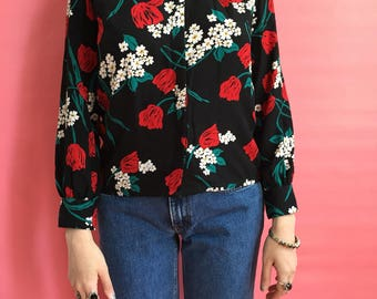 80s Pendleton / Country Sophisticates Button Front Black Blouse with Floral Print Daisies and Red Tulips / Small 2/4