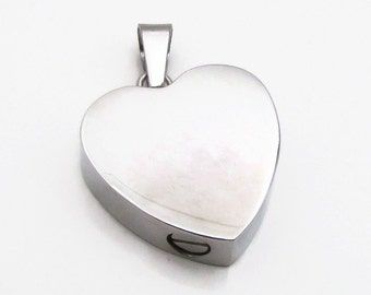 Stainless Steel Urn - Stamping Blank, Cremation Urn - Heart Urn, Hand Stamping Blank, Engraving Blank, Heart Urn 19x6mm, Heart Blank (135),