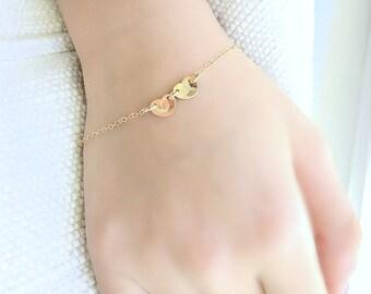 14k Gold Heart Bracelet Monogram Initial Bracelet 2 Heart Bracelet Cz Star Bracelet Girls Bracelet Heart Bracelet Monogram letter Bracelet