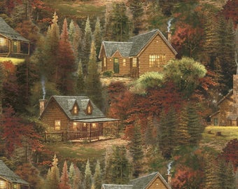 Autumn Cabins Fabric By Thomas Kincaid  From David Textiles 100% Cotton