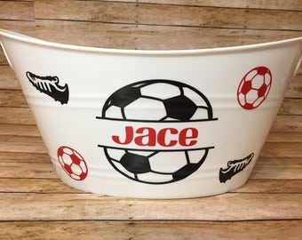 Ships Quick! Personalized  Baskets, Soccer Basket, Personalized Bins