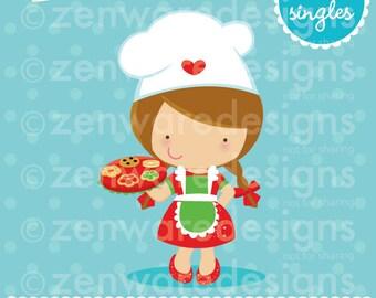 Brunette Christmas Chef Clipart