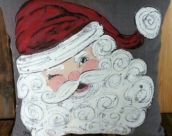 Santa Claus, Winking St. Nick, Christmas, Holiday Decor, Accent Pillows, Indoor/Outdoor Cushions,  Hand-painted, Pillow Cover, No. 523