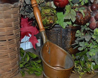 Vintage French Copper Ladle or Scoop with Wood Handle French Country Kitchen