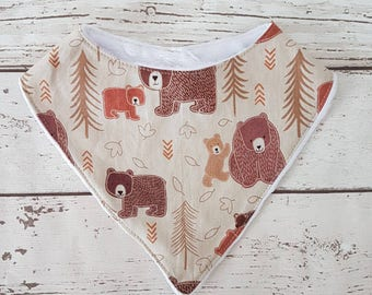 Bear dribble bib, baby bandana, drool bib, bibdana, newborn gift, baby shower, uk