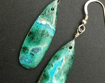 Chrysocolla Earrings, Turquoise Stone Earrings, Green Stone Earrings, Malachite Earrings, Sterling Silver Earrings, Earrings Under 75