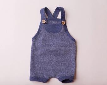 "Newborn Boy Romper- ""Timothy""  in blue newborn romper, overalls, baby photo prop, baby boy, newborn romper,"