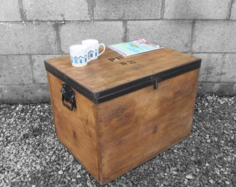 Vintage tea chest trunk box crate storage side table bedside Silver trunk coffee table