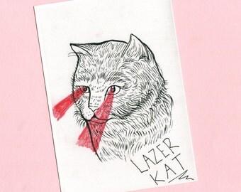 Lazer Kat print-   Cat Illustration, cat art