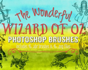 Wizard of Oz ClipArt & 46 Photoshop Brushes - Digital Stamps - Wizard of Oz Clipart Stamps