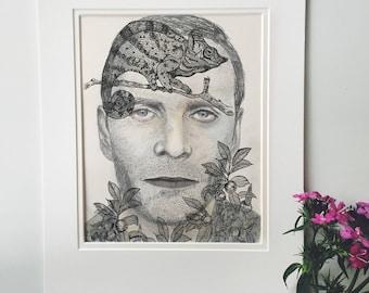 Michael Fassbender llustration, chameleon illustration, Michael Fasbender, surreal portrait, surreal art, surrealism, chameleon drawing, ink