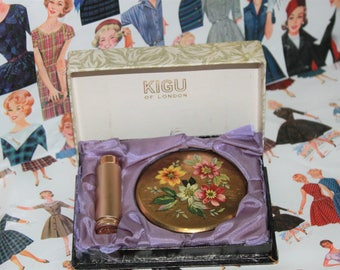 Kigu of London Powder Compact and Bejewelled Atomiser.  In Original Presentation Boxc1950's