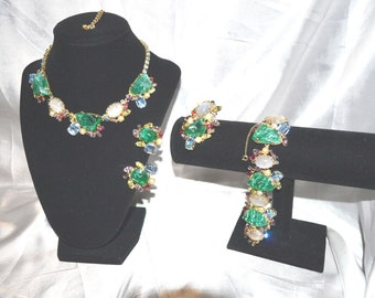 Vintage 1950s Era Signed Alice Caviness Flawed Emerald Green Parure