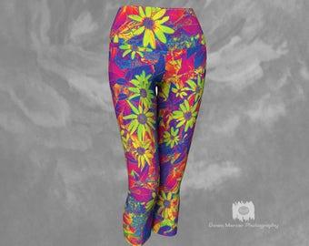 Floral Capri Leggings Floral Print Tights Capris  Rainbow Floral Print Leggings Capri Yoga Leggings Womens Capri Leggings Cropped Leggings