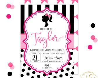 Doll Invitation | Doll Party | Fashion Show Party | Glam Party Invitation | Black and White Stripes Invitation | Polka Dot Invitation