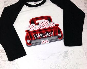 Boy's Valentine Shirt,  Boys Raglan shirt, Boys Valentines Day Outfit, Kids Valentines, Boys Heart Shirt, Baby Heart Shirt, Truck Valentine