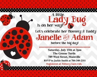 Ladybug, Lady Bug, Ladybird,  Baby Shower Invitation - Digital or Printed