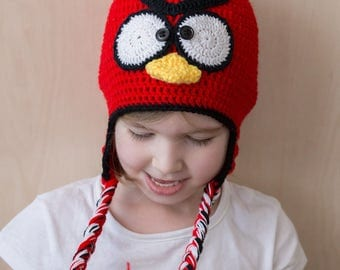Handmade Angry Birds Inspired Red Crochet Hat, Angry Birds Red Hat, Funny fashion gift for boy