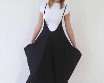 JMSTYLE Black Jumpsuit Loose Jumpsuit Black Overall Harem Onesie One size