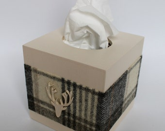 Tissue Box Cover Wood with Grey Check Tweed and Wooden Emblem, Gift for Men, Kleenex Box, Tissue Box, Tissue Box Holder for Men, Grey Box