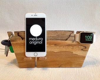iPhone / Watch #177 ... Live Edge Spalted Elm Dock Designed for Nightstand Mode and Loop Band use also.