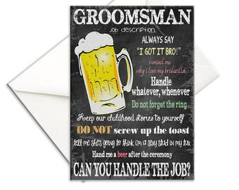 Will You Be My Groomsman, Chalkboard, Job Description, Printed, Groomsman Card, Beer Mug