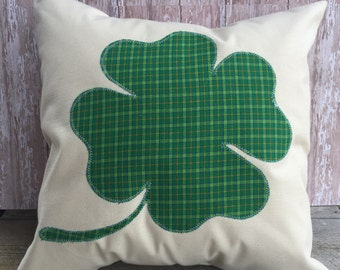 St Patrick's Day Four Leaf Clover pillow cover