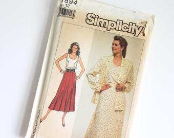 SIZE 12 7894 Simplicity Women's Suit Shirt Jacket Pleated Skirt Dressy Top UNCUT Sewing Pattern Vintage 1980s Eighties Misses Business