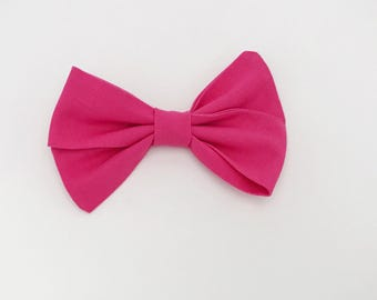 Bright Pink Folded hair bow - Cotton Bow on Nylon Headband or Hair clip - Baby Bow Headband