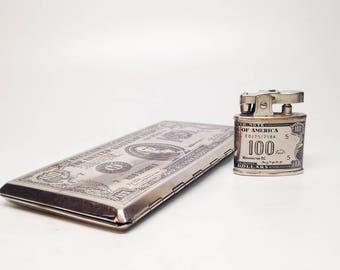 Hundred Dollar Bill Cigarette Lighter and Case Set - Working 1950s Occupied Japan Made Hundred Dollar Bill Pocket Lighter Case Set