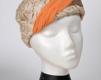Evelyn Varon Vintage Pillbox Turban Hat with Orange & Brown Twist