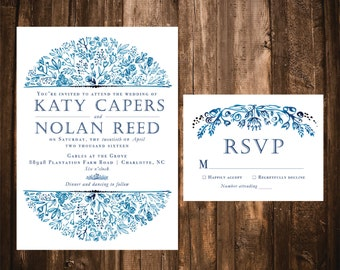 Navy Watercolor Wedding Invitations; Vintage Floral; Printable OR set of 25