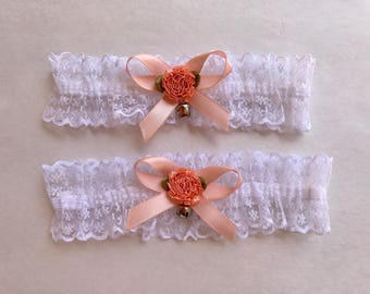 Peach Ribbon Bow and Flower with Detailed Lace Garters