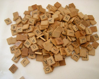 250 scrabble pieces-wooden letters-250 plus pieces-supplies-art-crafts-recycle-upcycle-game pieces-old and newer-