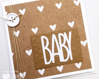 BABY heart card in brown kraft, baby boy, baby girl. New Baby card, baby shower, baby gifts.