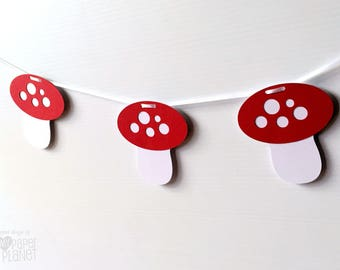 Spotty Mushroom party banner. Photo prop, Garland. Birthday bunting, Woodland party, first birthday, baby shower. Fairy or pixie party