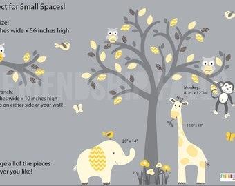 Nursery Decal, Nursery Wall Decal, Giraffe, Smaller Wall Decal, Elephant, Gender Neutral Nursery, Banana Chevron Scene / Grey Tree