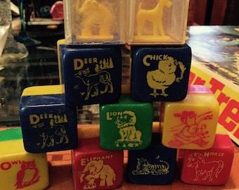 Vintage Celluloid Plastic alphabet toy blocks animals 1950-1960s cute
