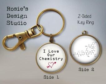Oxytocin I love our Chemistry Keychain - Valentines Day Gift - Oxytocin Jewelry - Love Hormone - Oxytocin Necklace
