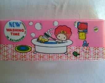 Vintage japan pencil case box, kawaii anime little girl