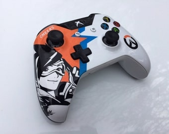 Custom Painted Tracer Overwatch Xbox One Wireless Controller S 3.5mm [Bluetooth]