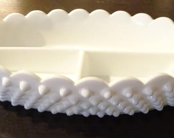 Oval White Milk Glass Divided Relish Tray - Measures 12 x 6 x 2 inches - Hobnail Pattern - Not Marked - Great Condition