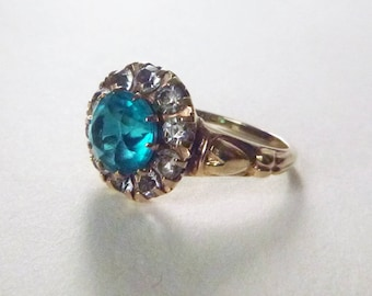 1930s Art Deco 10k yellow gold blue and clear paste glass stone halo ring size 7.75