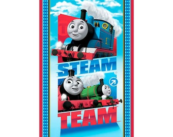 "Steam Team Express~Thomas Train Panel 24"" x 44""~Children's Cotton Fabric by~Quilting Treasures~Fast Shipping CH347"