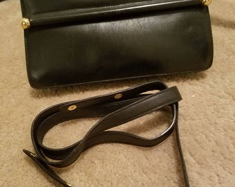 Clearance...Vintage Paloma Picasso Made in Italy Leather  Goldtone  Evening Crossbody /Clutch handbag