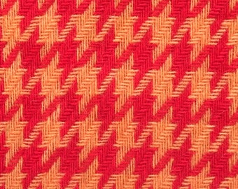 Vintage 60s-70s Bright Orange & Red Houndstooth Check Bonded Wool Fabric