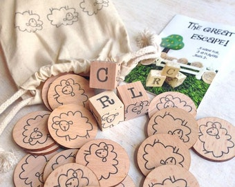 The Sheep Escape Game - wooden educational dice game